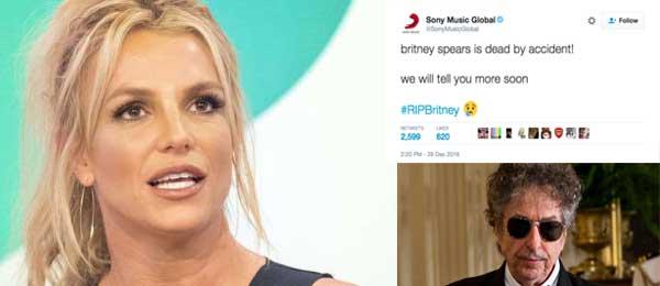 Quand Sony et Bob Dylan annoncent la (fausse) mort de Britney Spears