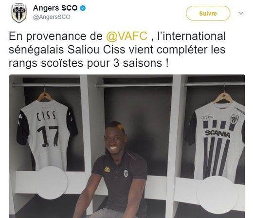 Saliou CISS a signé un contrat de 3 ans avec Angers
