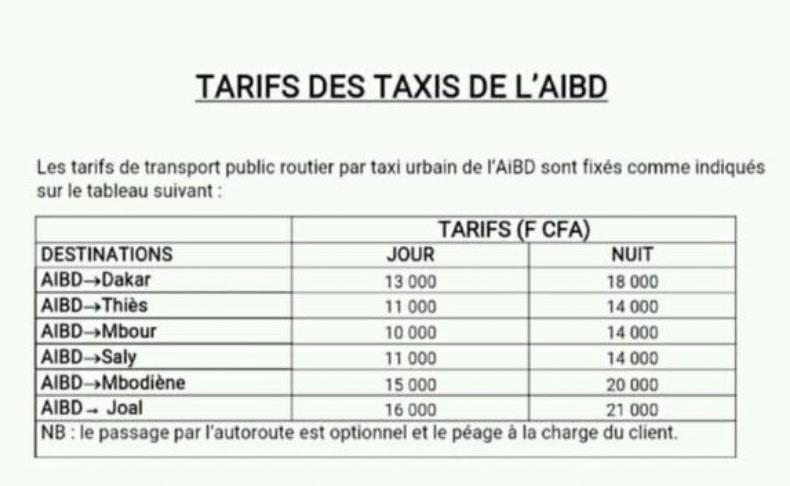 AIBD : quand le prix du taxi fait froid dans le dos
