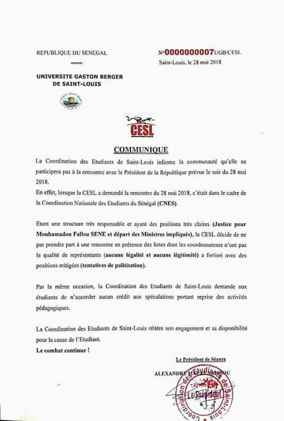 Les étudiants de Saint-Louis boudent Macky et accusent leurs camarades de Dakar