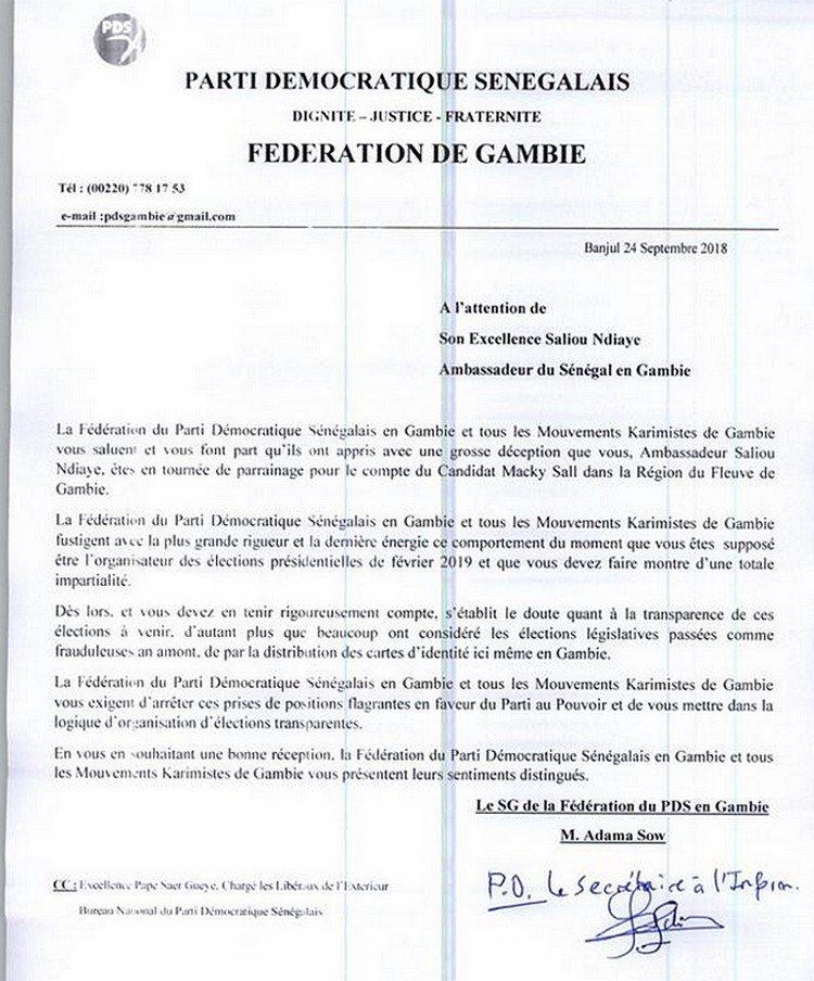 Collecte de parrains: l'ambassadeur du Sénégal en Gambie fâche le PDS