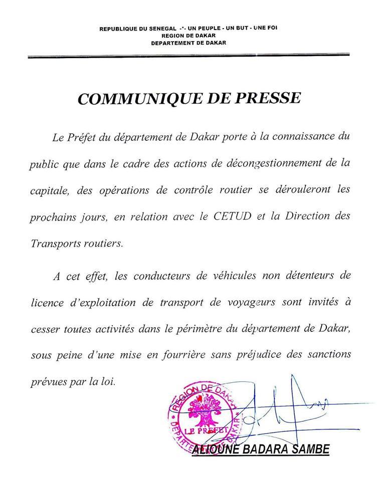 Le préfet de Dakar lance la chasse aux véhicules clandos