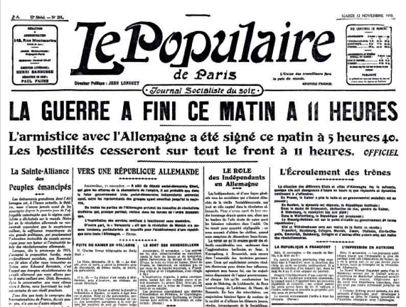 L'Armistice du 11 novembre: les Unes de l'époque