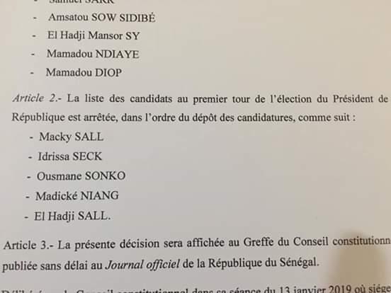 Liste provisoire : le Conseil Constitutionnel invalide Karim WADE et Khalifa SALL