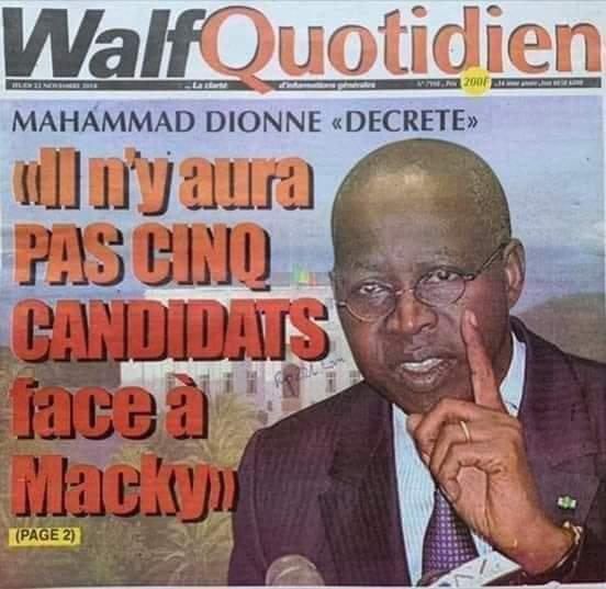 Nombre de candidats à la prochaine présidentielle : Boun DIONNE le devin