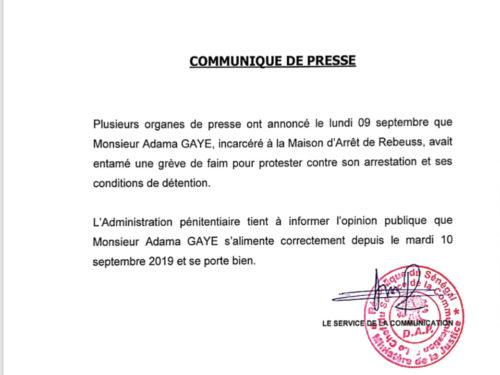 L'administration pénitentiaire dément  la grève de la faim : « Adama GAYE  s'alimente et se porte bien »