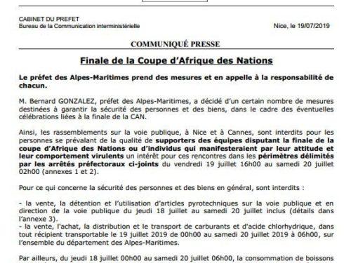 Sénégal – Algérie : Le Préfet de Nice  interdit tout rassemblement de supporters
