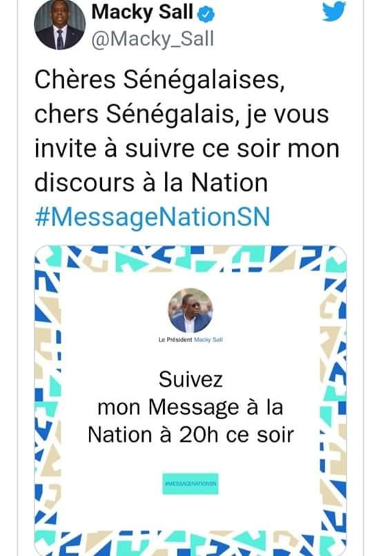 Le président SALL invite les Sénégalais à suivre son discours à la Nation ce lundi