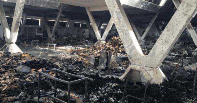 Lendemain de l'incendie a Petersen: Les commerçants dans le désarroi, plus de 100 millions partis en fumée