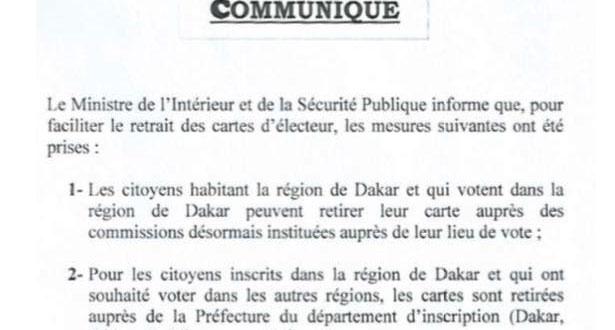 Retrait des cartes d'électeur: le ministère de l'Intérieur annonce de nouvelles mesures