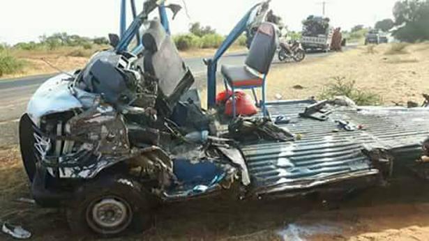 Accident de Sagatta, ce qui reste du minicar percuté