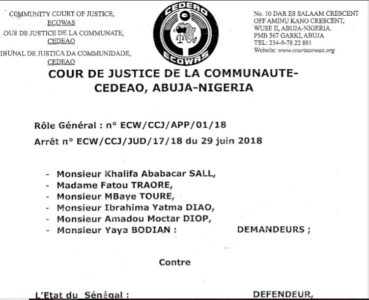 Affaire Khalifa SALL : La CEDEAO « libère » la Cour d'appel de Dakar (document)