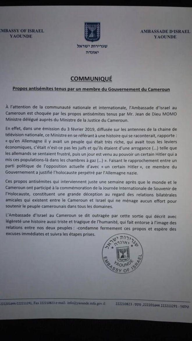 Israël se dit «outragé» par un ministre camerounais