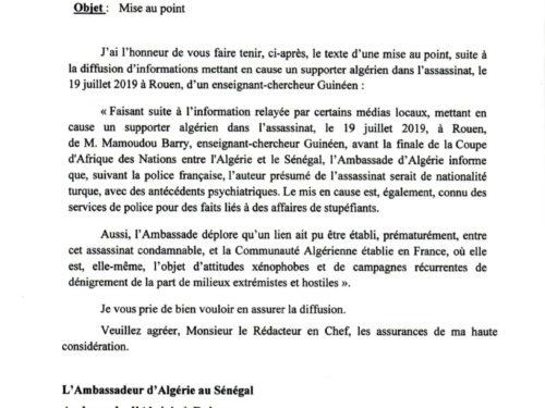 Meurtre de Mamoudou Barry : L'Ambassade de l'Algérie au Sénégal tape du poing sur la table