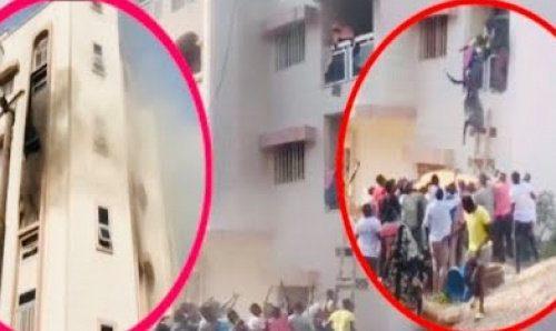 Incendie à Ouest Foire : Des femmes sautent du 2e étage (vidéo)